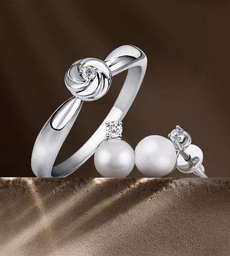 Серебряные украшения с бриллиантами в Злато юа