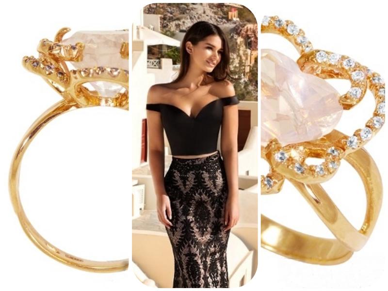 Золотые кольца с розовым кварцем