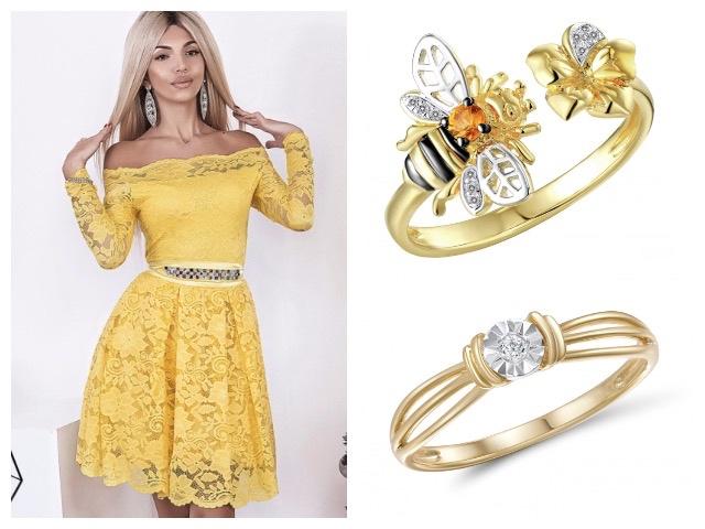 Женские кольца из желтого золота