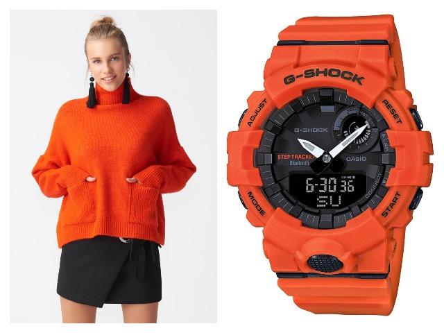 Наручные часы в оранжевом цвете корпуса