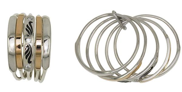 Кольцо серебряное широкое из нескольких секций