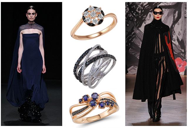 Женские золотые кольца с черными бриллиантами