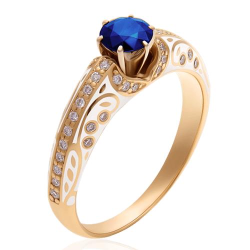 Золотое кольцо с сапфиром и эмалью