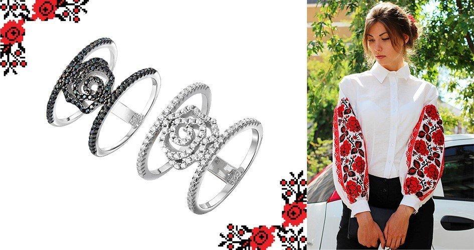 Серебряные кольца с цветами