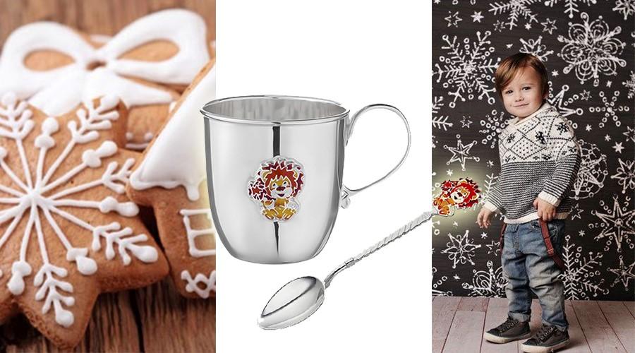 Детская серебряная чашка и ложечка