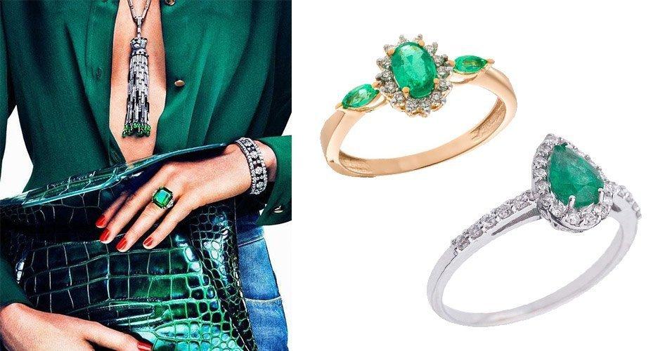 Золотые кольца с камнями