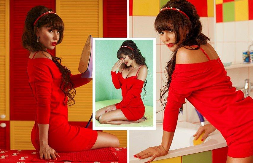 Влада Евсеева в красном платье