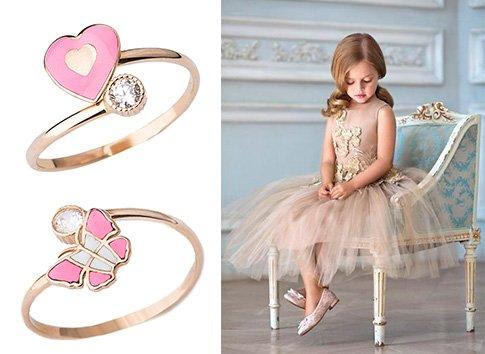 Детские золотые кольца с эмалью