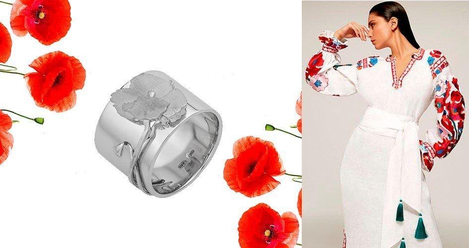 Широкое серебряное кольцо Мак