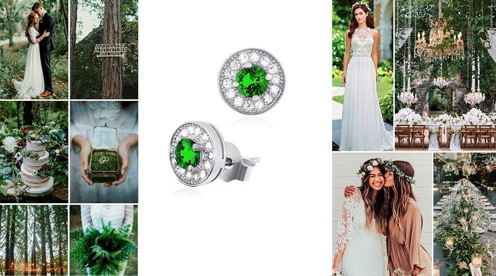 Серьги для свадьбы в зеленом цвете