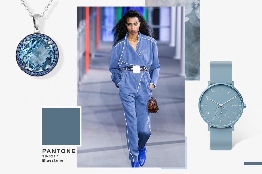 Кулон и часы синие