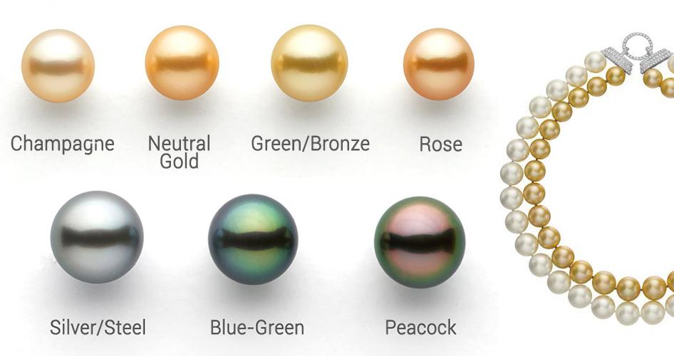 Жемчужины разных цветов и оттенков