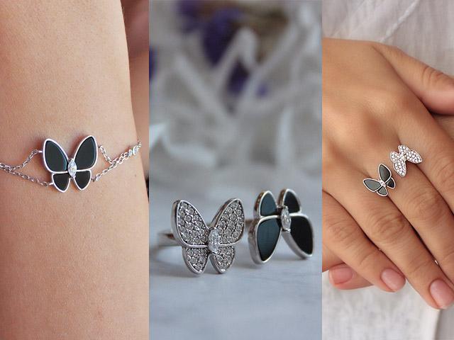 Комплект с браслетом с бабочками