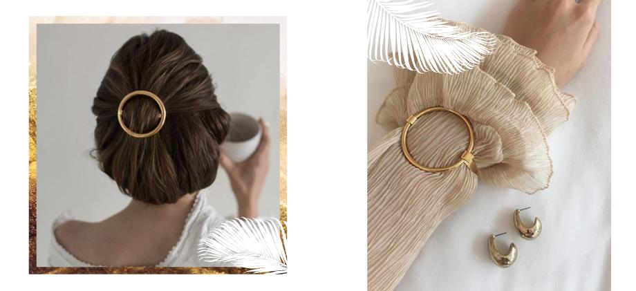 Заколка в волосы и браслет минимализм