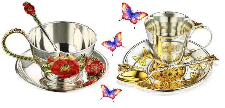 Серебряные чашки с рисунком