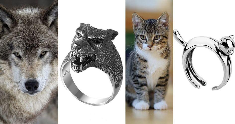 Кольцо в виде волка и кота