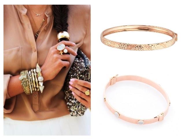Золотые жесткие браслеты без вставок