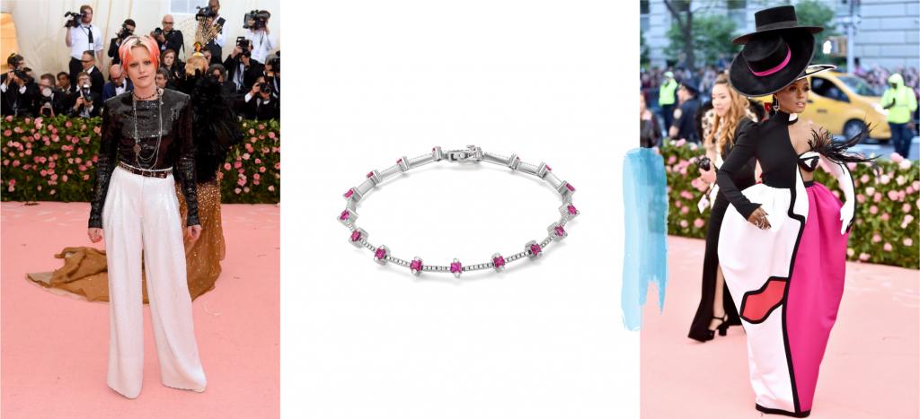 Теннисный браслет с розовыми вставками