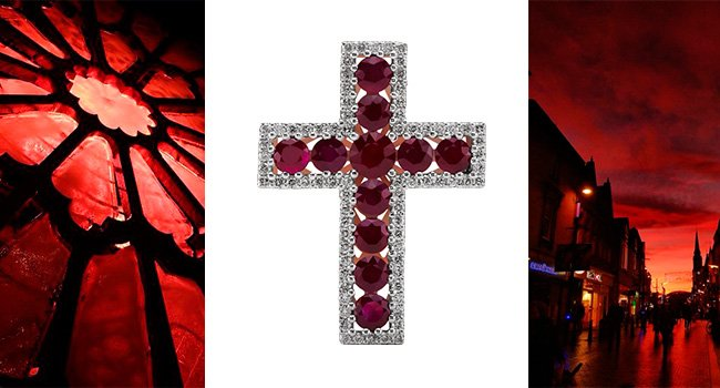 Крестик с рубинами