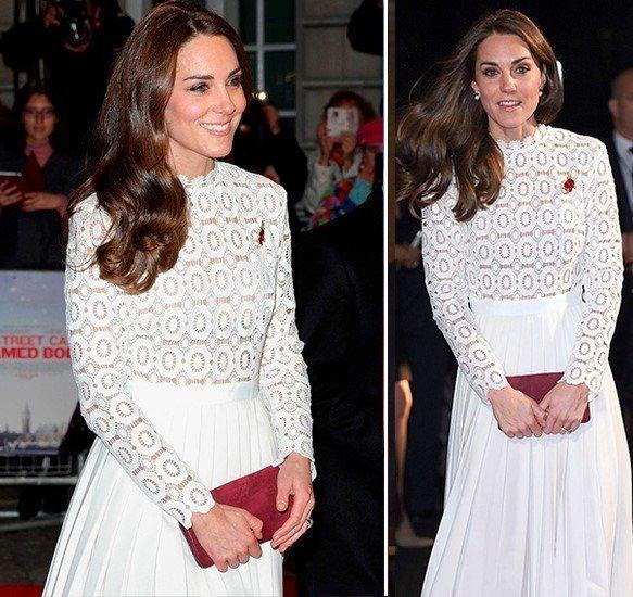 Кейт Миддлтон в белом платье с брошкой