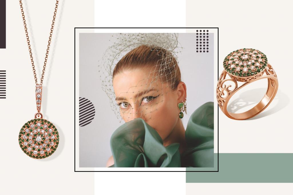 Перстень и кулон с зелеными вставками