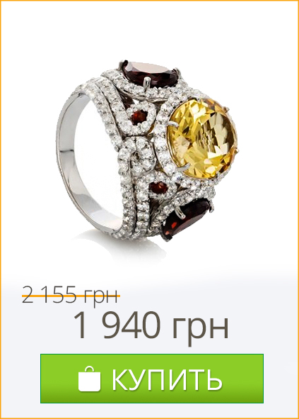 Коктейльное серебряное кольцо с крупными камнями на выпускной 2017 - купить в Zlato.ua