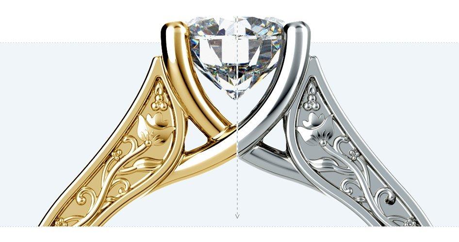Кольцо платина золото