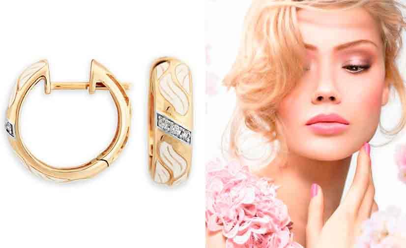 Золотые сережки с эмалью и бриллиантами