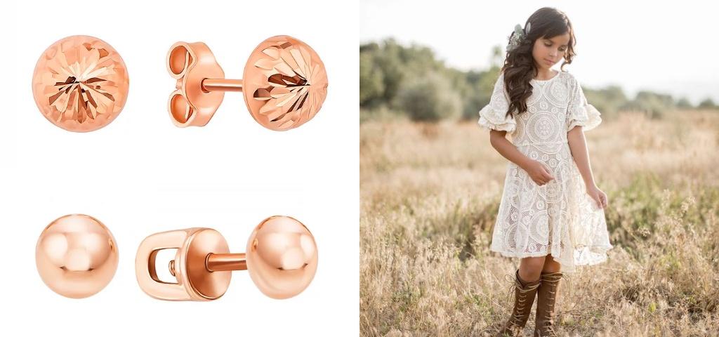 Золотые детские сережки с шариками