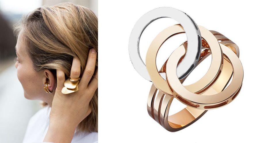 Кольцо из разных цветов золота