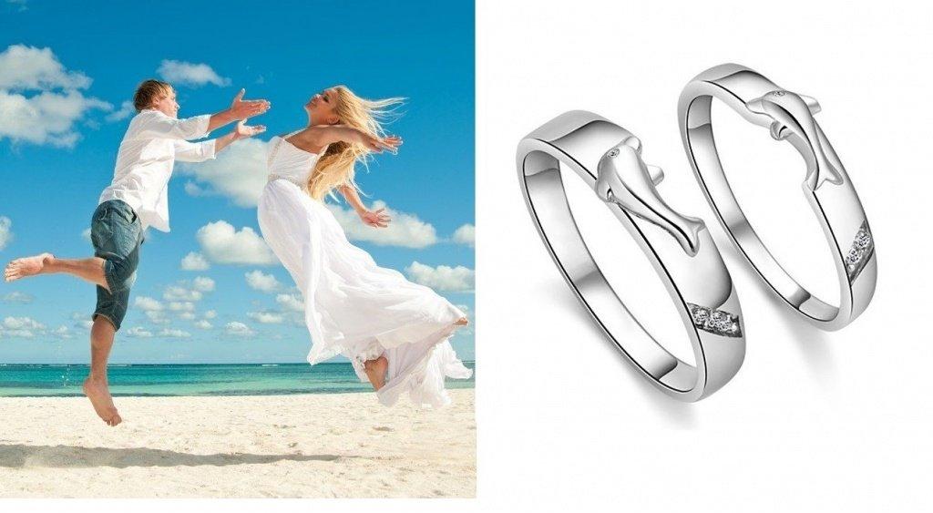 Обручальные кольца с дельфинами