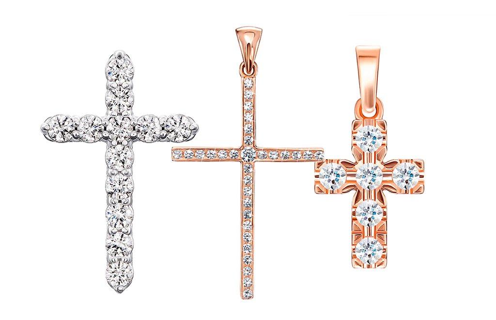 Золотые крестики с камнями Сваровски