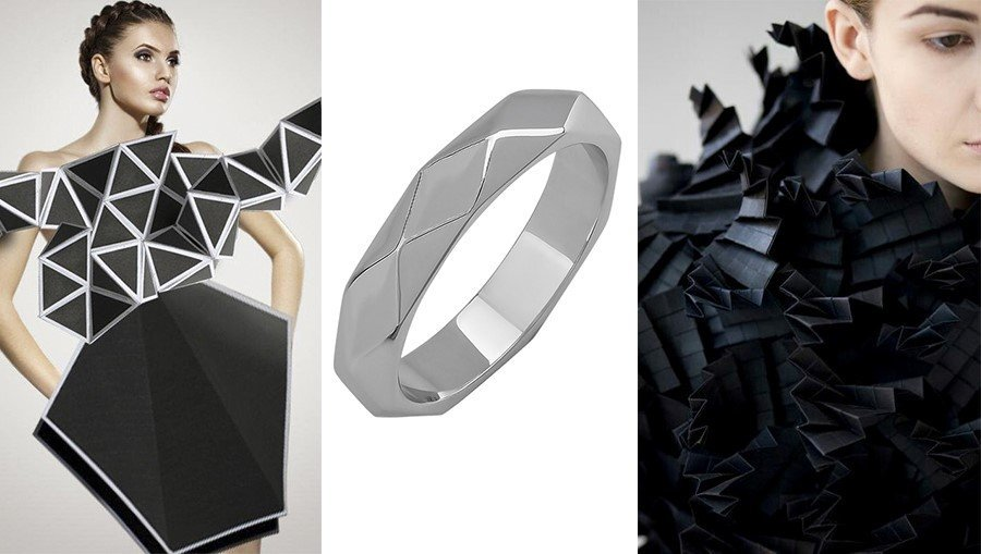 Золотое кольцо в стиле хай-тек
