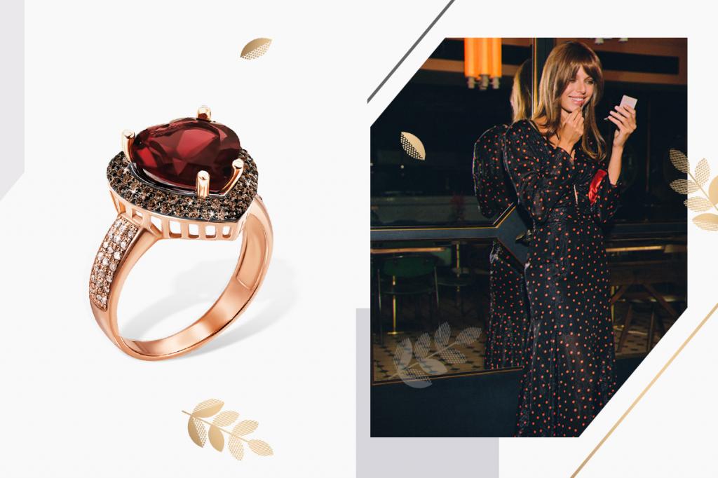 Перстень с сердцем золотой
