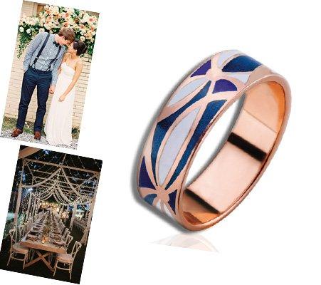 Мужское обручальное кольцо с эмалью
