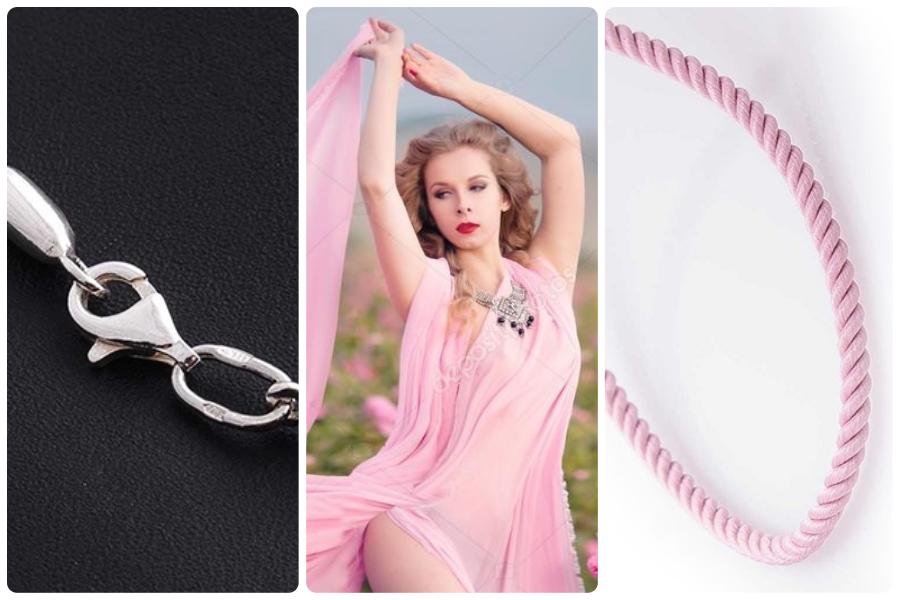 Розовые ювелирные шнурки