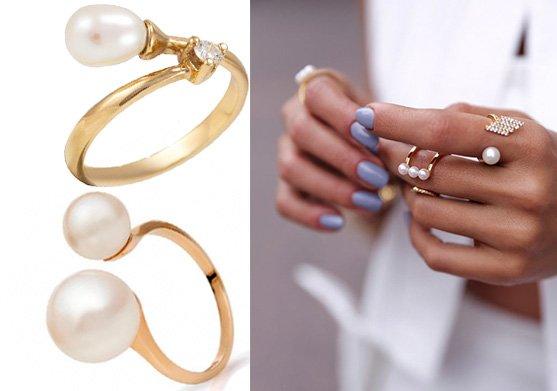 Золотые кольца с жемчугом