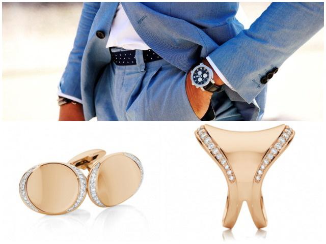 Запонки и кольцо в золоте набор
