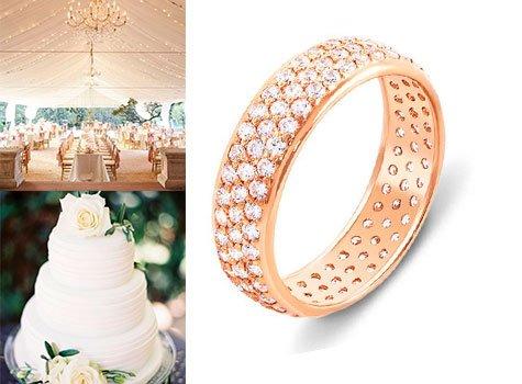 Золотое кольцо с усыпкой камней