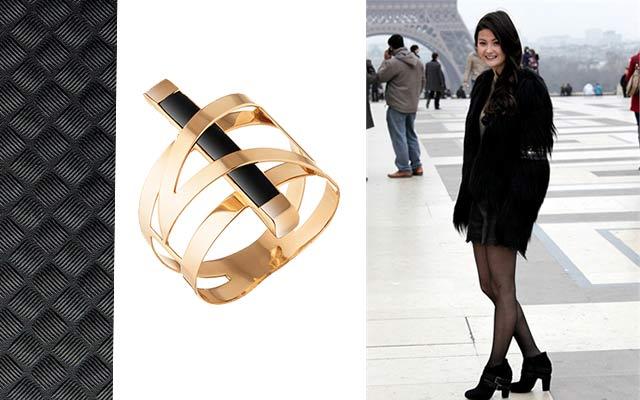 Кольцо с каучуком золото