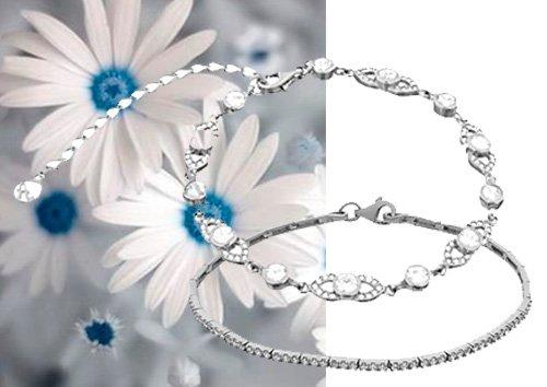 Стильные женские браслеты в белом металле