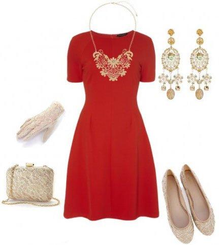 Нежные аксессуары и красное платье
