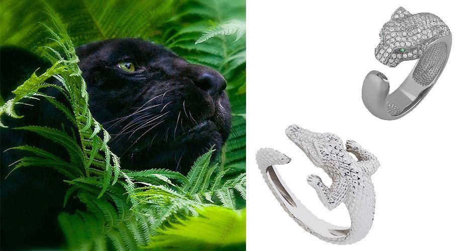 Кольцо с силуэтом пантеры