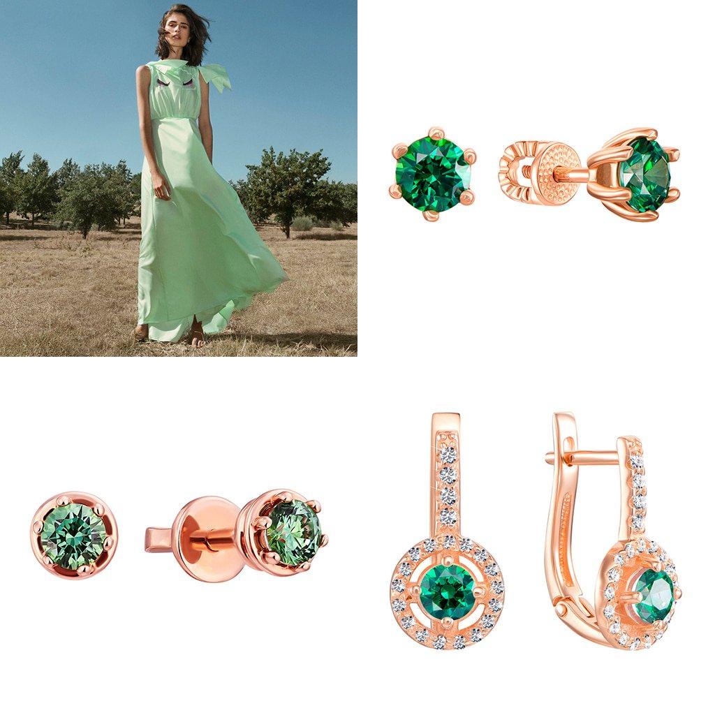 Серьги с зелеными камнями Сваровски