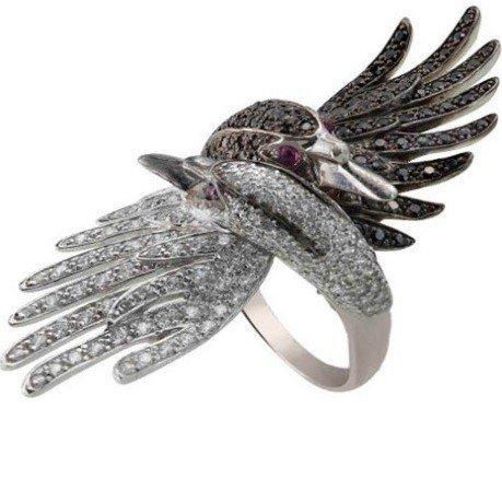 Эксклюзивное кольцо в виде лебедей