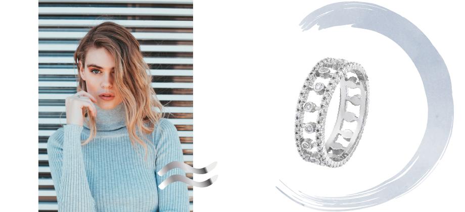 Кольцо с бриллиантовой усыпкой