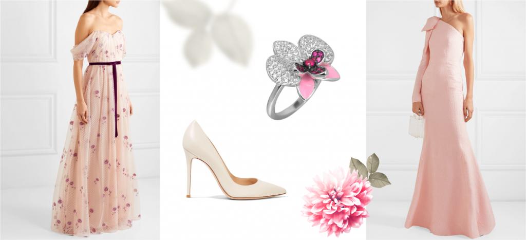 Кольцо белое золото с розовыми вставками цветок
