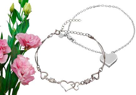 Женские браслеты с сердечками