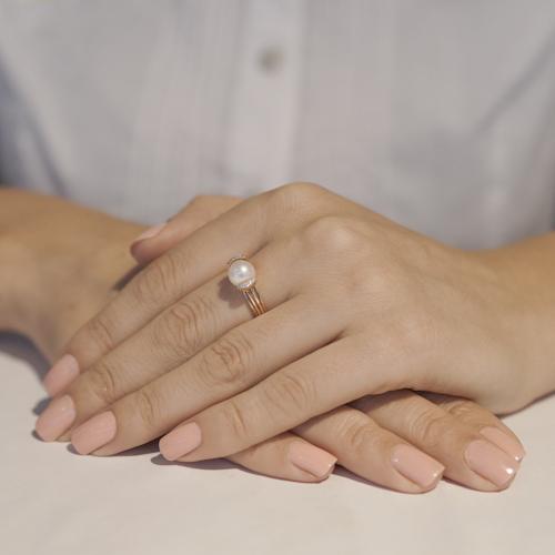 Кольцо золотое с жемчугом SA&GA