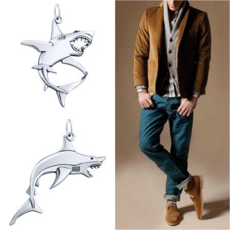 Кулоны из серебра в виде акулы